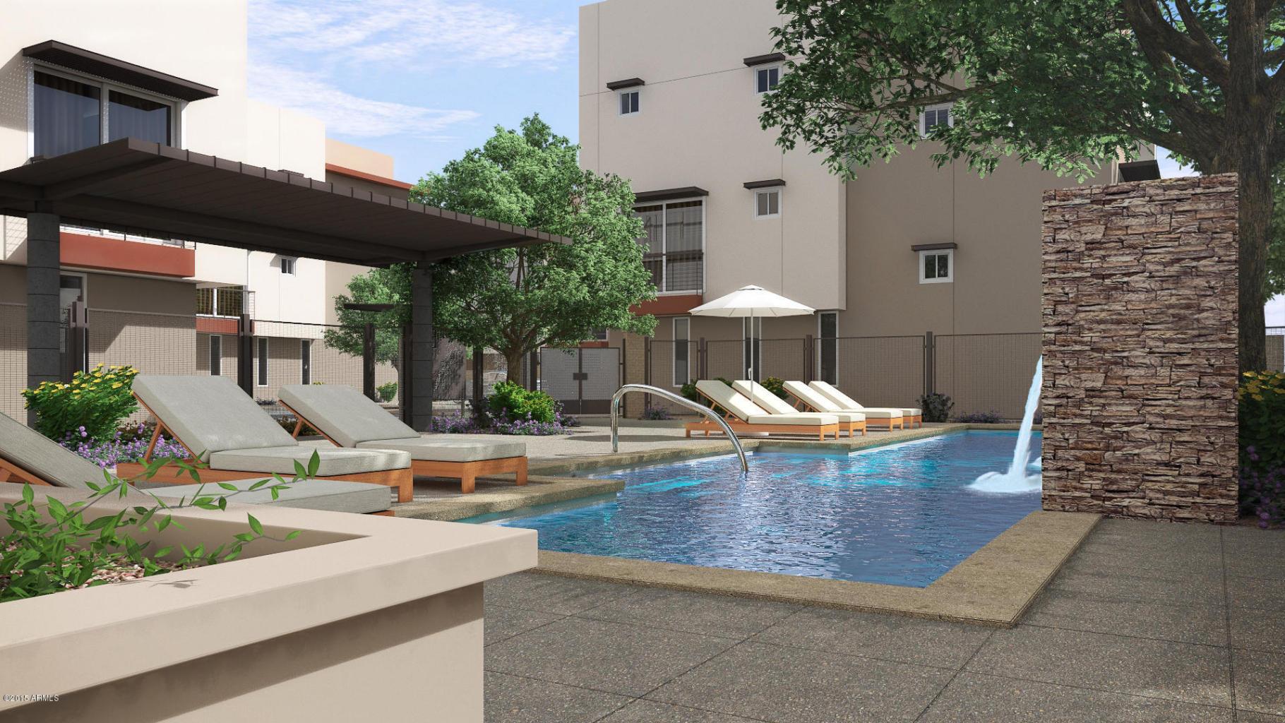Aerium scottsdale courtyard pool rendering