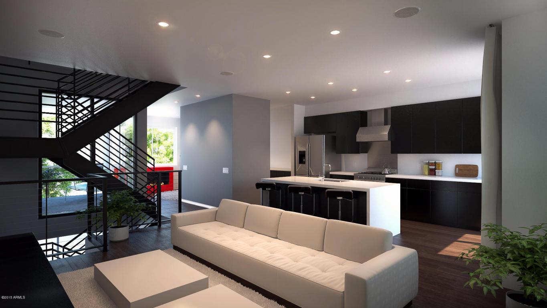 Aerium scottsdale living room kitchen rendering