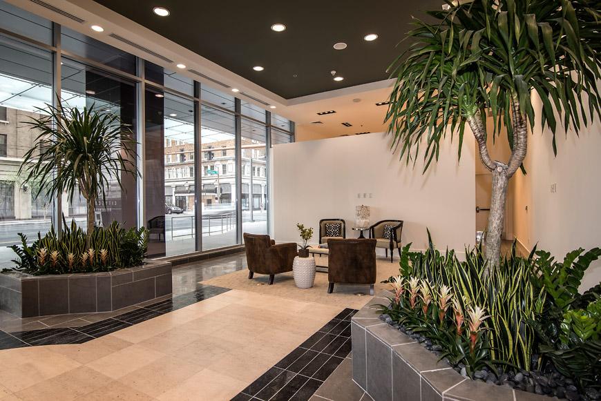Cityscape lobby