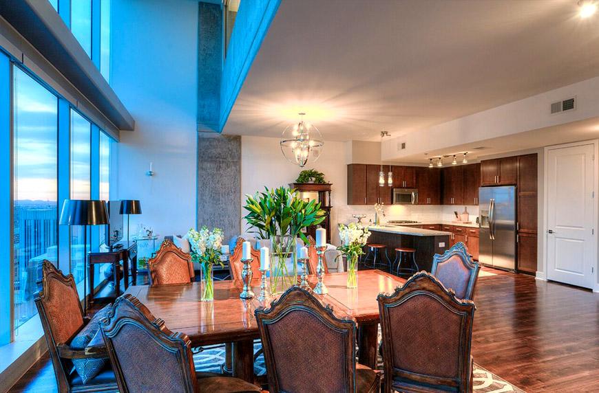 Cityscape penthouse dining area