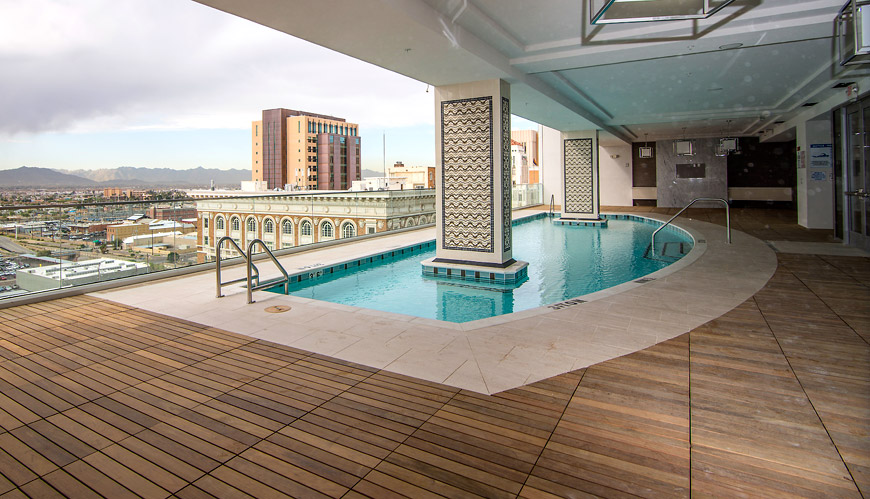 Cityscape pool and sun deck
