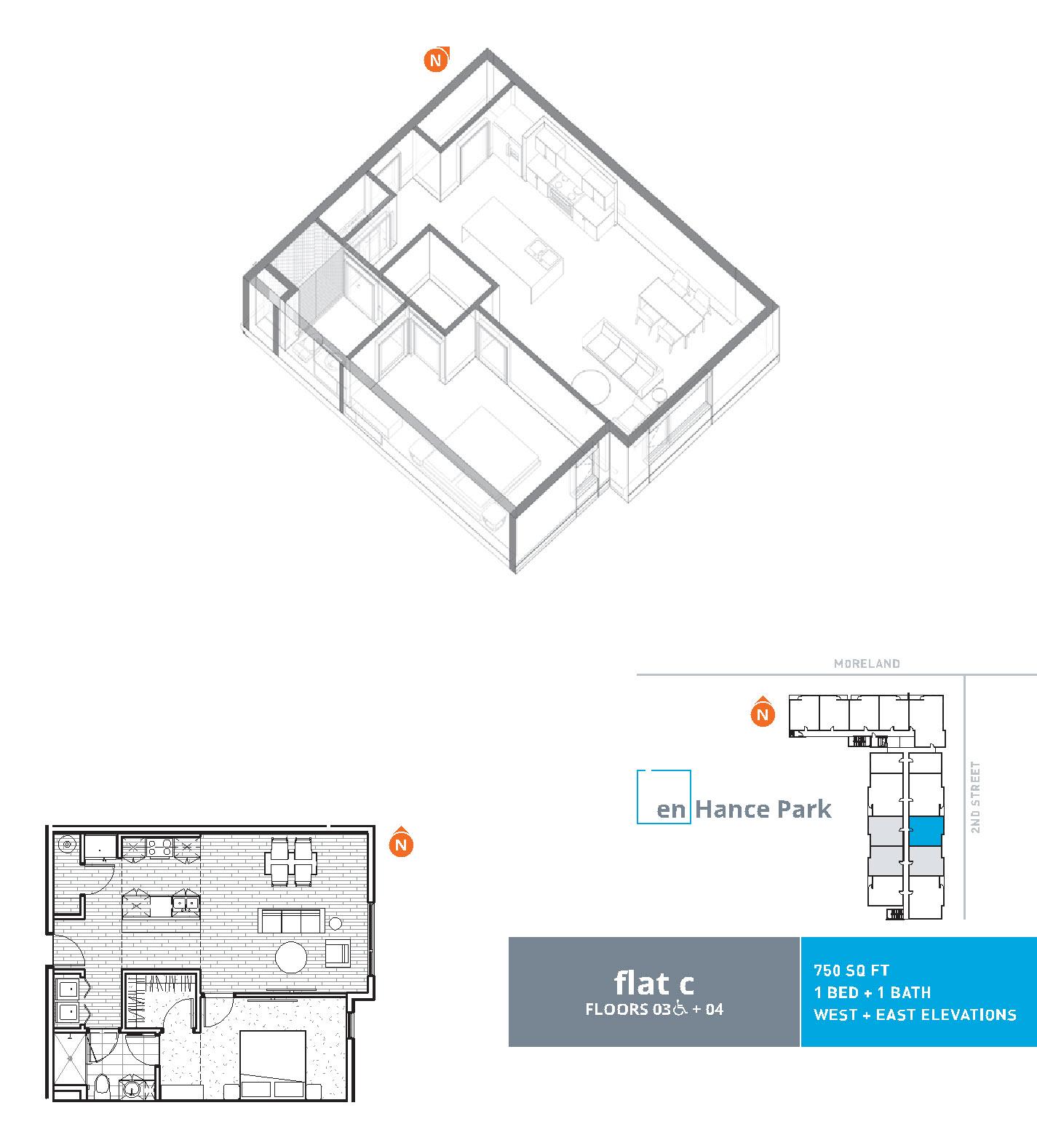 En hance park condo floor plan flat c 1bd