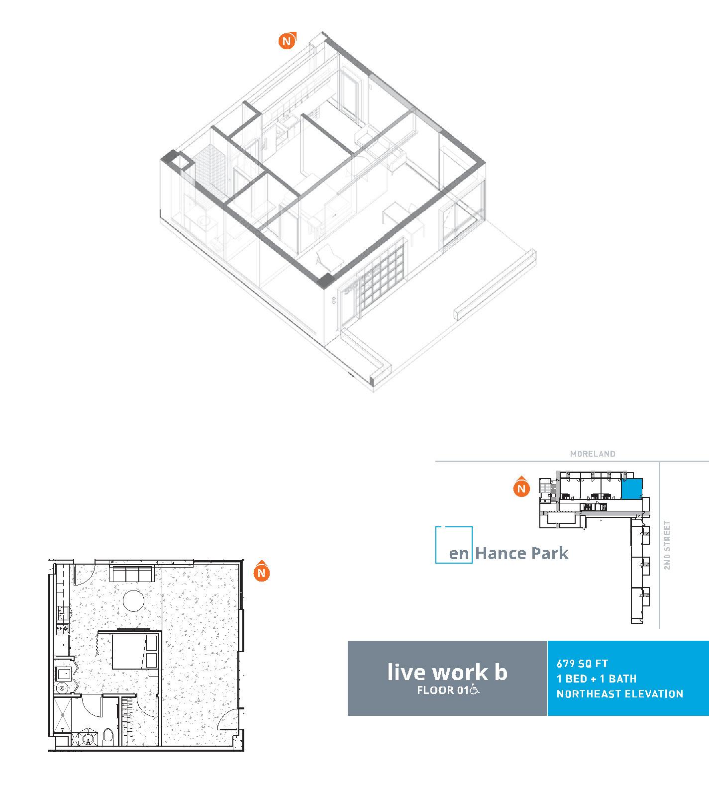 En hance park condo floor plan live work b 1bd