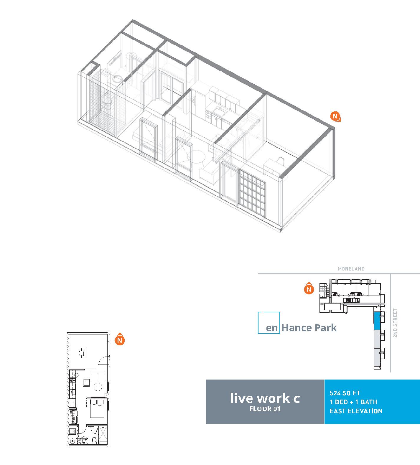 En hance park condo floor plan live work c 1bd
