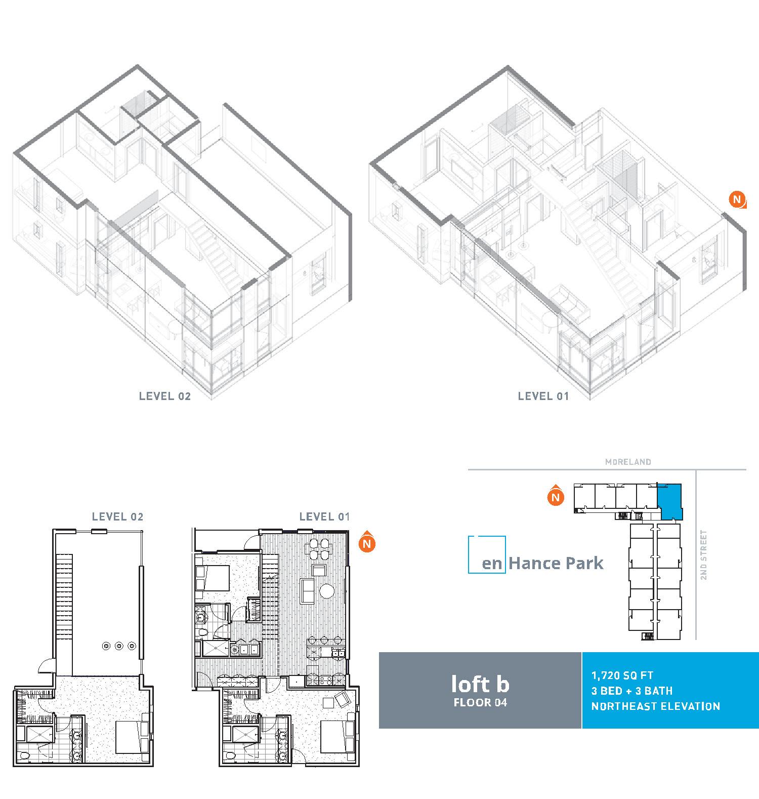 En hance park condo floor plan loft b 3bd