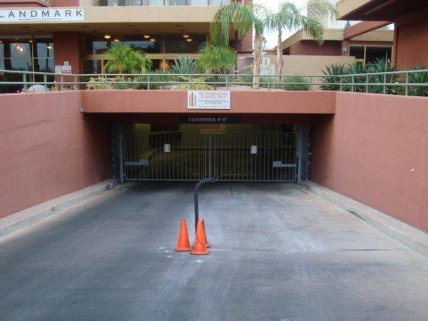 Parking entrance landmark on central condos