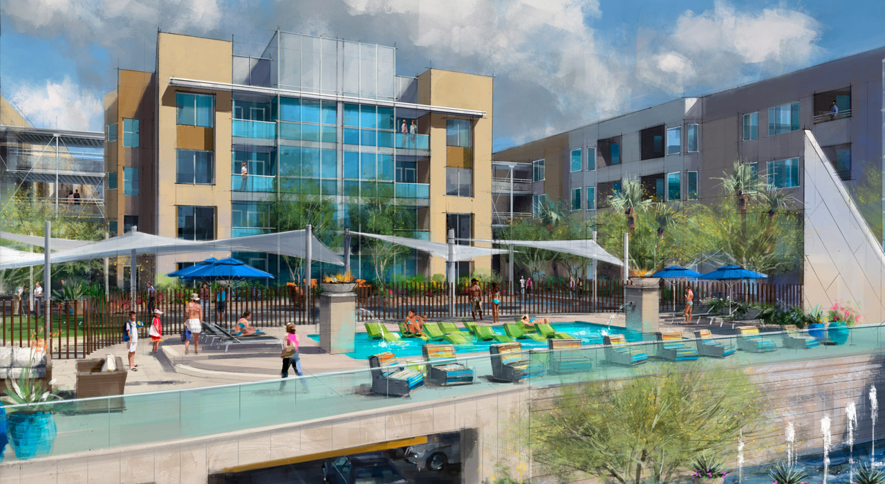 Pool rendering skywater at town lake condos
