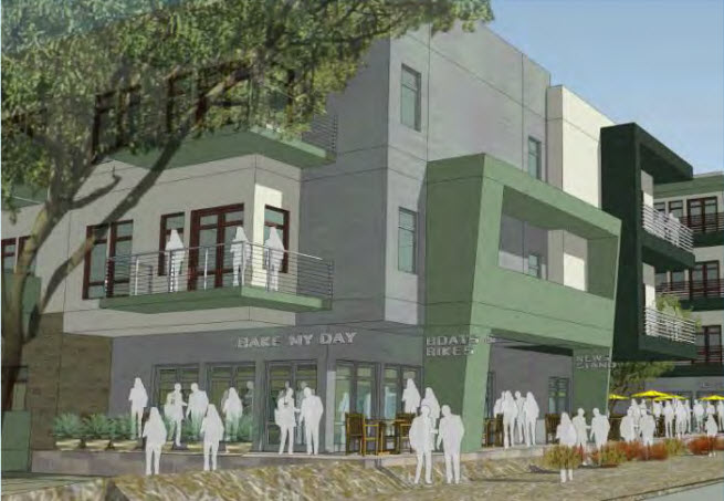 Tempe lakeside apartments artist rendering retail space
