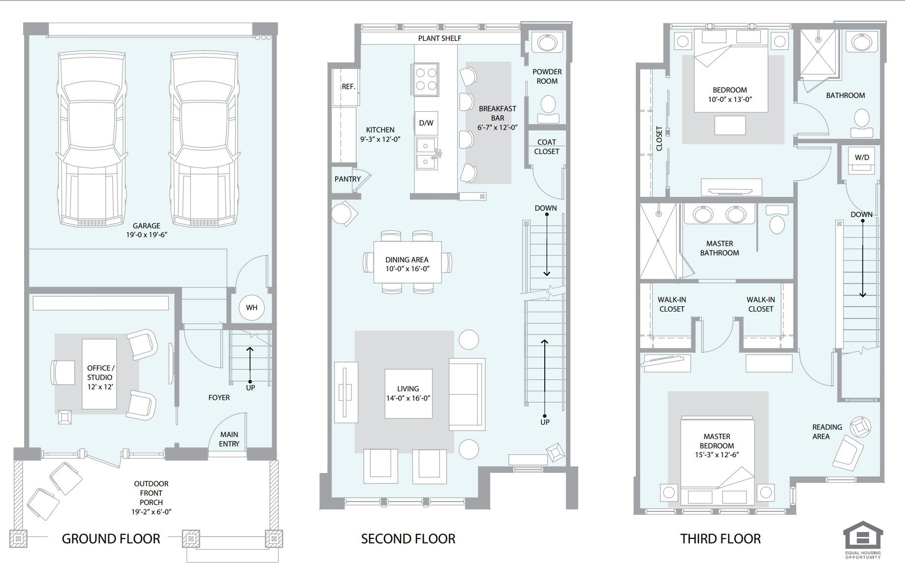 Townhomes on 3rd condos for sale rent phoenix az for Townhome layouts